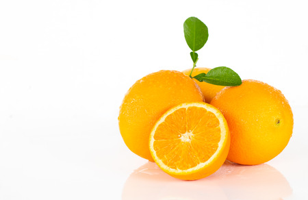 Valencia oranges on white background.