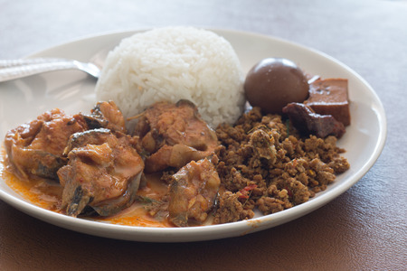Rice with Eggs and pork in brown sauce and curry fish. Banque d'images