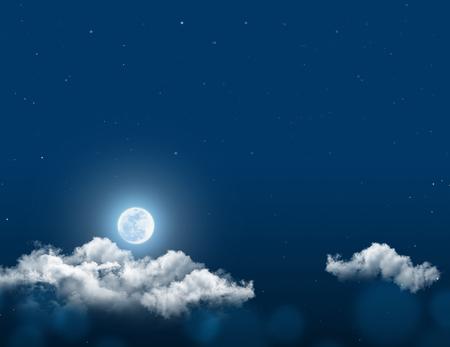Fondo de cielo nocturno místico con luna llena, nubes y estrellas. Noche de luna con copia espacio para el fondo de invierno. Foto de archivo