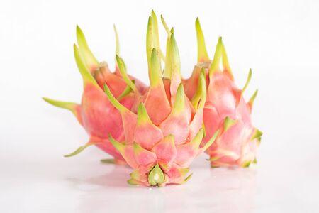 Dragon fruit or pitaya fruit on white background.