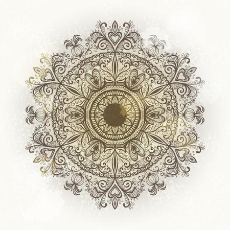 Grunge hand drawn circular floral ornament. Eps10 Stock Vector - 17707620