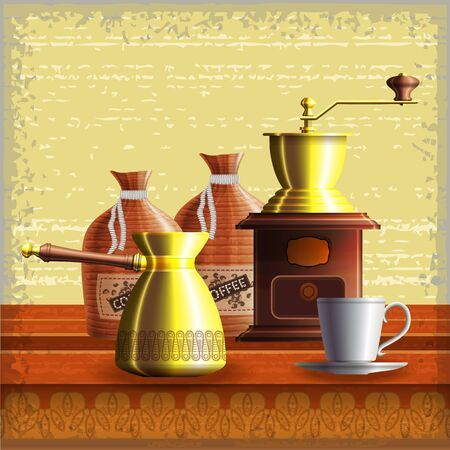 Set of coffee mill, turkish cezve, textile bags and small white cup standing on the wooden table over grunge retro frame background. Eps10 Stock Vector - 17707621
