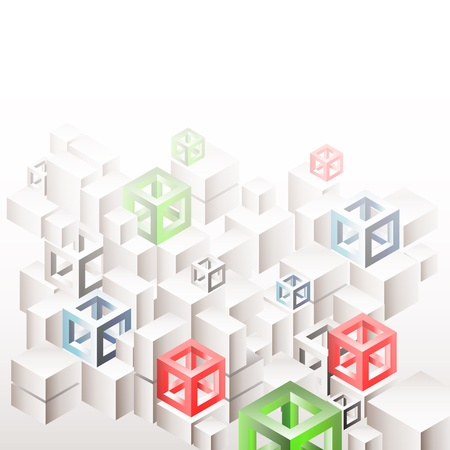 polyhedral: Abstract three-dimensional  geometric background with white cubes and frames. Eps10