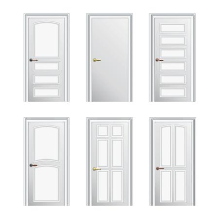 Set di 6 verniciato bianco porte profilate. Eps10
