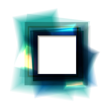Blue square frame with white copy space   Vector