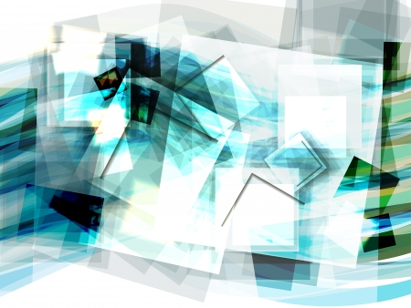 Abstract blue geometrical background with moving squares   Stock Vector - 17899709