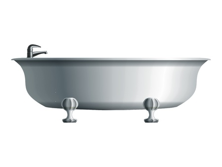 Realistic white bathtub with metal water tap   Ilustrace