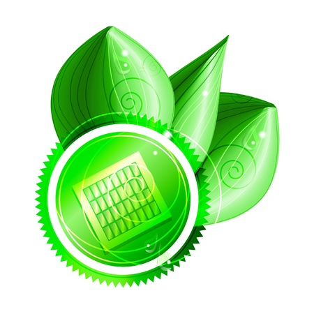 Ecological concept  green label with solar panel  with three shiny leaves   Vector