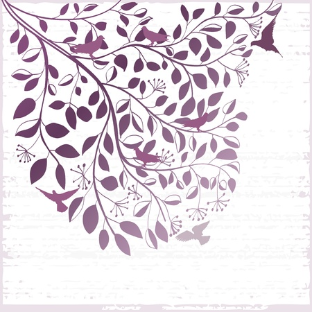 Elegant floral grunge background with branch of tree and birds Vector