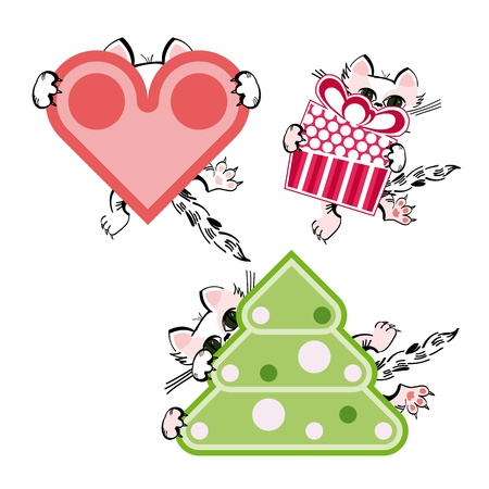 Set of three cat characters with heart, gift and Christmas tree Vector