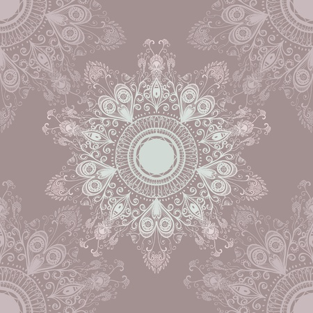 Softly colored seamless hand drawn circular floral ornament   Illustration