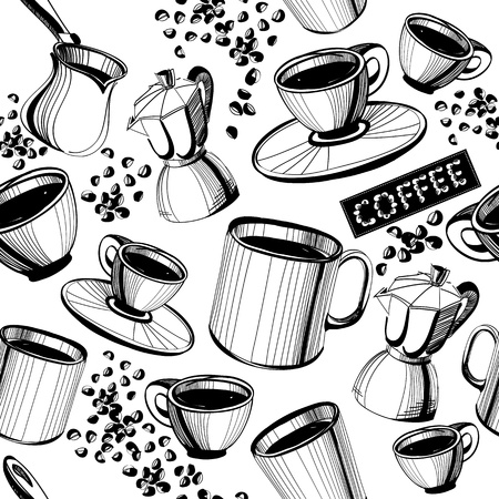 cup and saucer: Seamless hand drawn coffee pattern