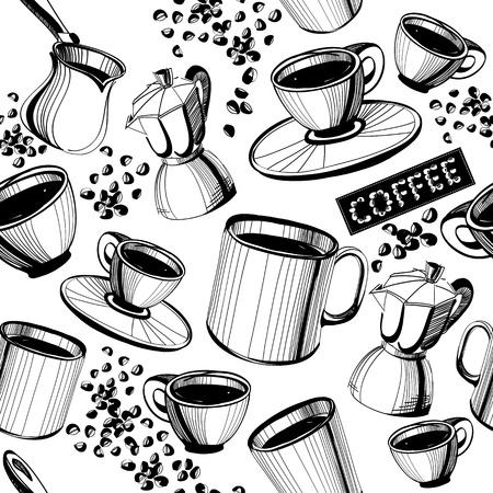 chicchi caff� su sfondo bianco: Senza soluzione di continuit� disegnato a mano modello di caff�