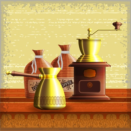Set of coffee mill, turkish cezve and textile bag standing on the wooden table over grunge retro frame background   Vector