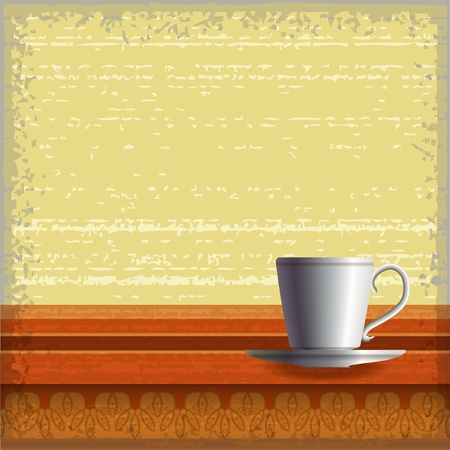 Small coffee cup standing at the wooden table with ornaments over the grunge background   Vector