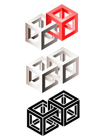 Set of three-dimensional airs of intersected wire frame cubes   Illustration
