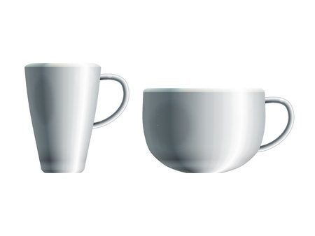 drinkware: Realistic drawing of two blank white ceramic cups