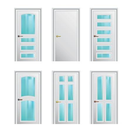 Set of 6 white painted profiled doors with glass insertions   Stock Vector - 17899717