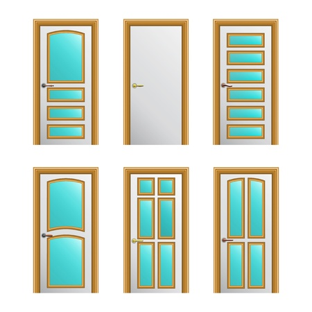 Set of 6 white painted doors with golden profiles with glass insertions   Vector