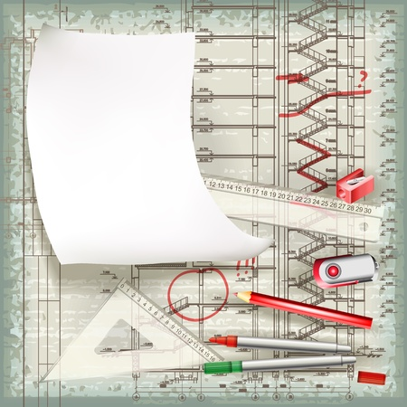 Architectural drawing in the process of correction   Vector