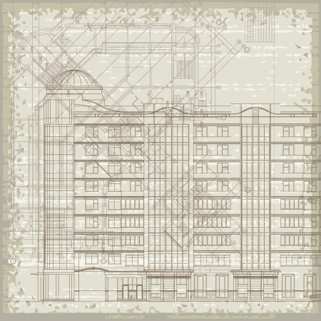 Grunge architectural background with elements of plan and facade drawings   Vector