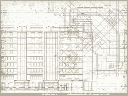 architectural elements: Grunge fondo arquitect�nico horizontal con elementos de dibujos en planta y fachada