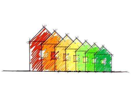 ahorro energia: Dibujado a mano bosquejo del diagrama de calificaci�n casa eficiencia energ�tica