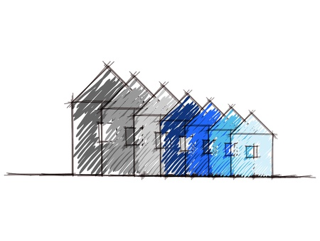 energy performance certificate: Hand drawn sketch of the diagram of house environmental impact rating   Illustration