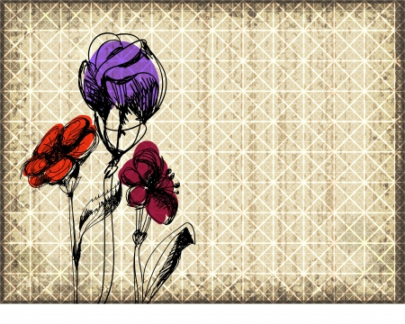Grunge floral background with three sketched flowers over old paper with grid   Vector
