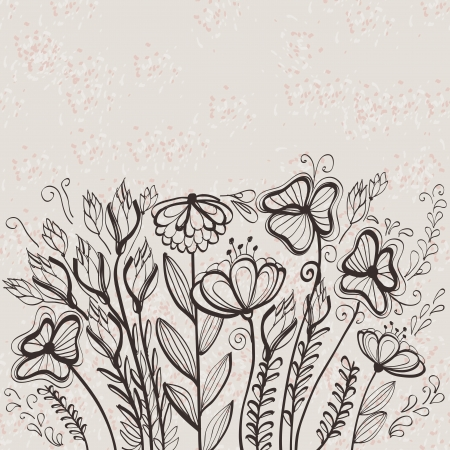 Grunge hand drawn floral greeting card Stock Vector - 17899415