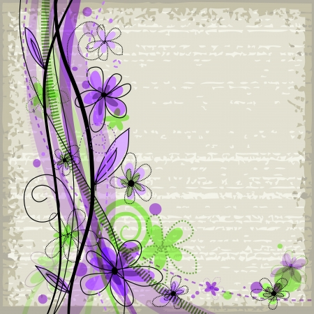 Grunge spring floral background with green and violet flowers   Vector