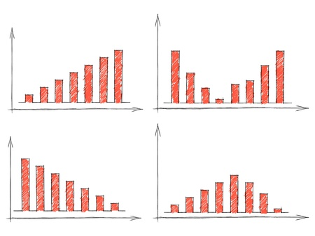 Hand drawn set of four red bar charts