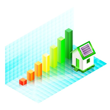 Energy efficiency rating of a house with photovoltaic panels  Ecological concept