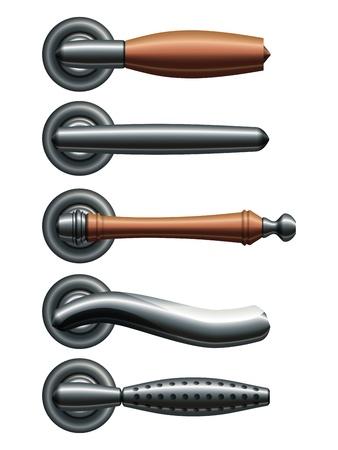 Ensemble de cinq types de poignées de porte en métal réaliste Vecteurs
