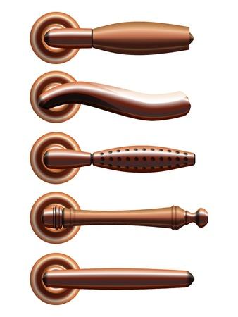 Set of five types of realistic bronze door handles   Ilustrace