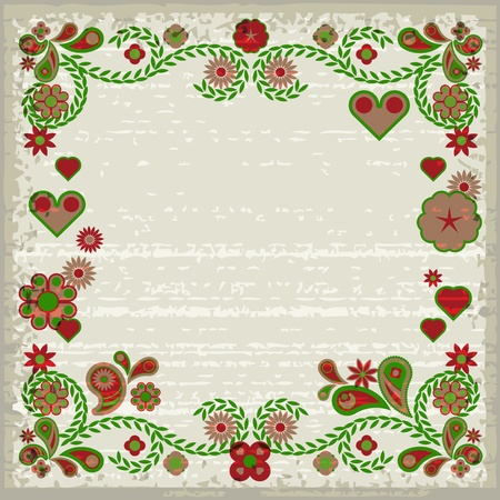 Grunge ornamental frame with soft pink and green flowers and hearts Stock Vector - 17899565