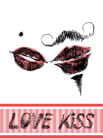 Minimalistic Valentine greetings card with hand drawn kissing lips