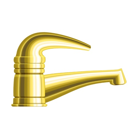 Realistic golden water tap with one handle   Stock Vector - 17899633