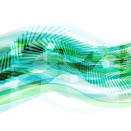 Abstract green geometrical background with moving lines and arrows Stock Vector - 18091062