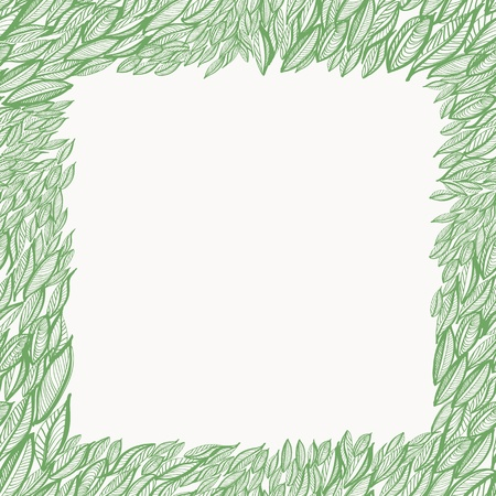 Seamless hand drawn frame with leaves Stock Vector - 18091012