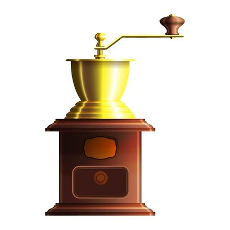 Handmühle für Kaffee aus Holz mit goldenen Elementen