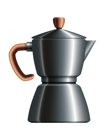 sign maker: Realistic drawing of metal moka with wooden handle