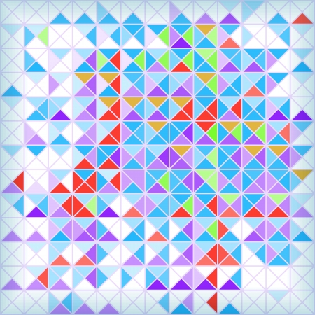 Bright abstract geometrical mosaic background with blue and red triangles