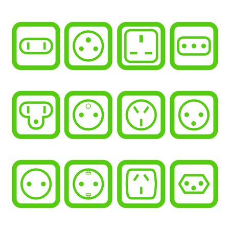 Set of 12 types of electricity outlets for different countries