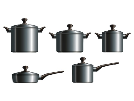 Set of five metal cooking pots  Stock Vector - 18091065
