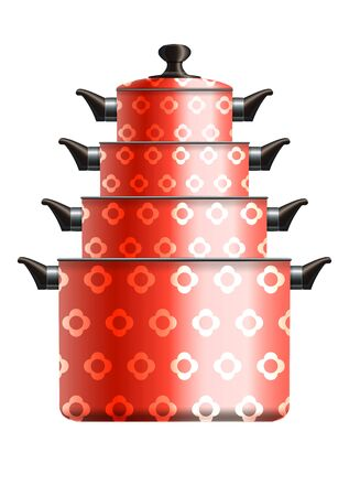 Set of four red painted cooking pots with flower pattern standing in pyramid