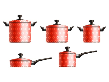 Set of five red painted cooking pots with flower pattern Stock Vector - 18091056