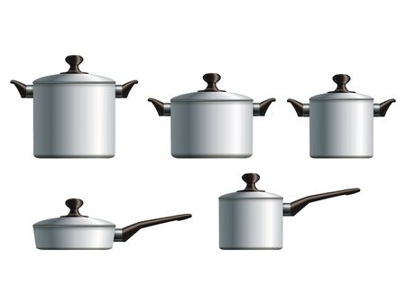 Set of five white painted cooking pots   Stock Vector - 18091073