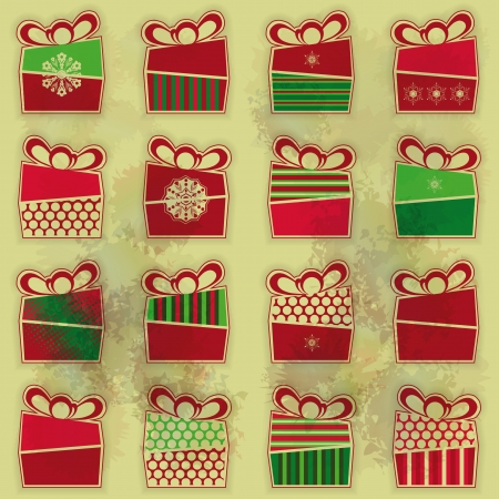 Set of 16 types of Christmas present boxes organized as seamless pattern over grunge background  Vector