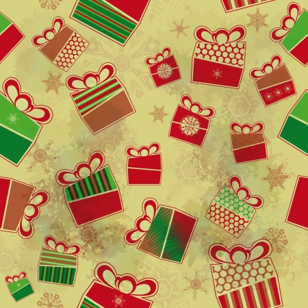 Seamless grunge background with Christmas presents  Vector